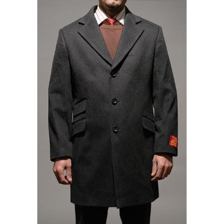 SKU#FY9759 Mens Charcoal Wool and Cashmere Carcoat