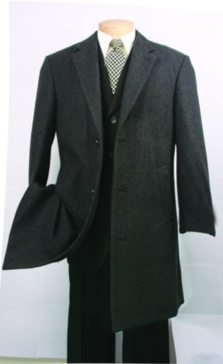 Three Quarters Length Men's Dress Coat Charcoal Fully Lined Mens Overcoat Wool Blend Mens Car Coat