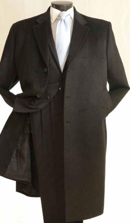 Mens 3/4 Length Car Coat in Cashmere Feel Charcoal