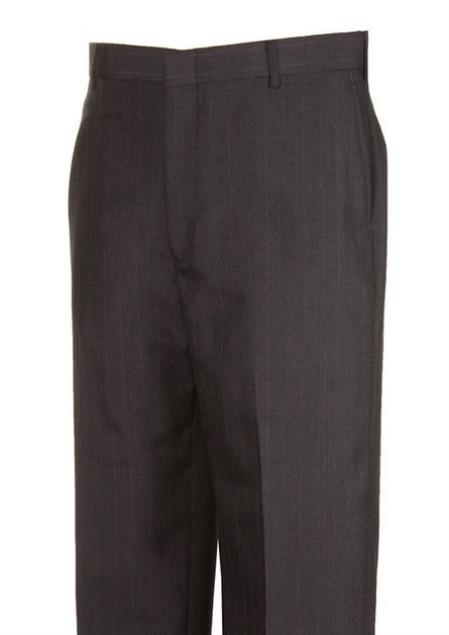 American USA Made Wool Blend Charcoal Stripe Dress Pants unhemmed unfinished bottom