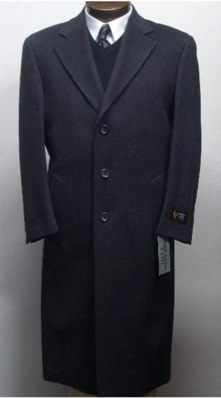 SKU#Sentry3310 45 Inch Charcoal Gray classic model features button front Wool&Cashmere