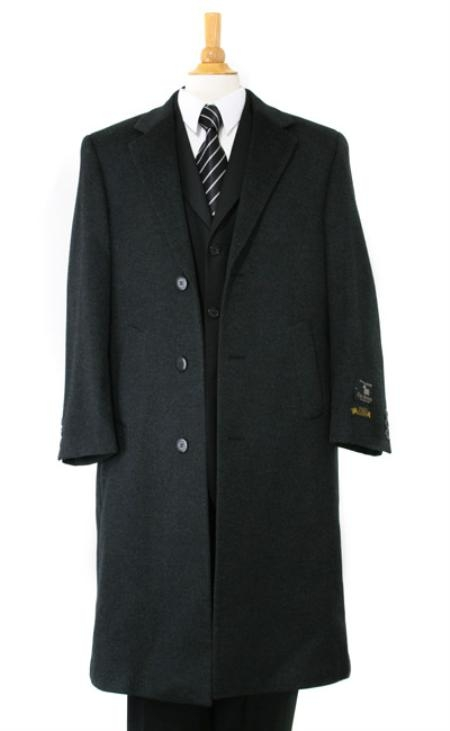 Mens Charcoal Gray soft finest grade Cashmere&Wool Overcoat