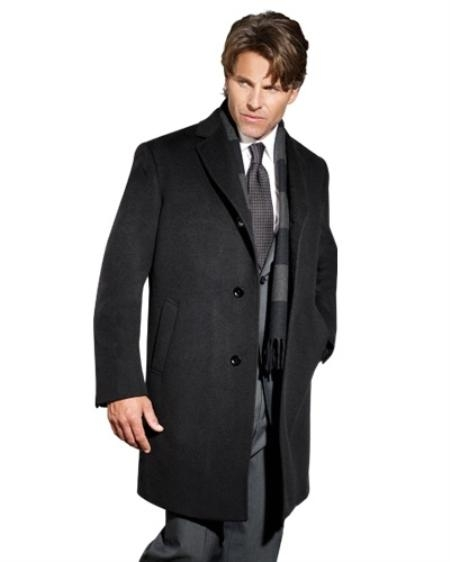 Mens Dress Coat 90% Wool Sports Coat Charcoal