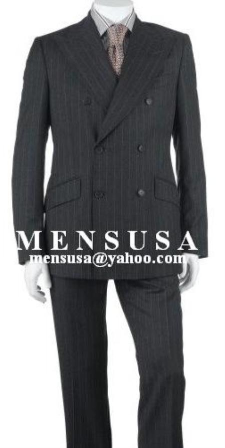SKU# ZLk2 Charcoal Gray Pinstripe Double Breasted Worsted Wool