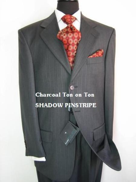 SKU# MU08 Charcoal Gray Ton on Ton (Shadow Pinstripe) Super Extra Fine 100% Wool $275