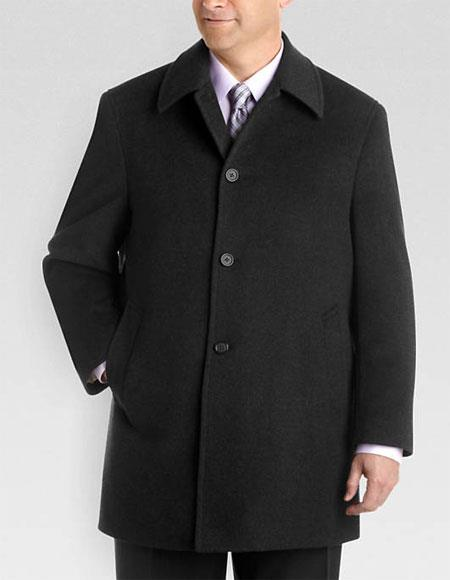 Mens Dress Coat Single Breasted Fully Lined Charcoal Gray Wool Classic Fit Jacket