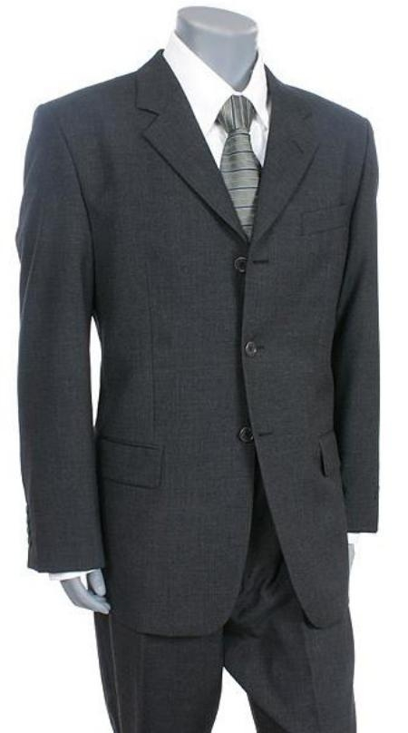 SKU# ZIT-K3 Charcoal Gray premier quality italian fabric Supe 150 Wool 3 Button Mens Suit $175