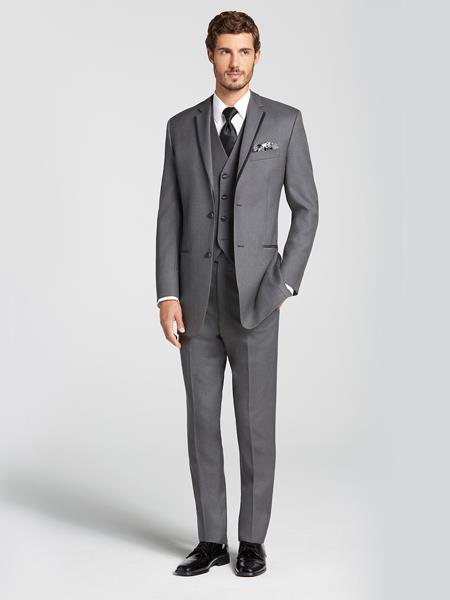 Charcoal Grey ~ Gray Satin Edged Notch Lapel Vested Tuxedo Wool Suit Tow Toned