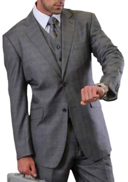 2 button Vested windowpane