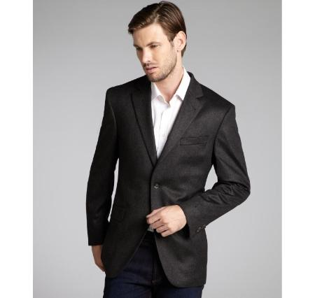 SKU#GT666 Mens Slim Fit Wool & Cashmere Blend 2 Button Blazer Rich Charcoal