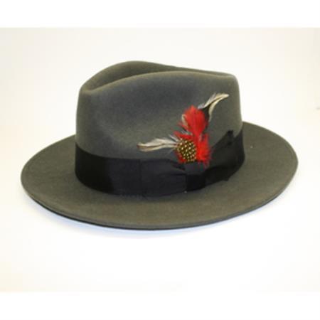 Men s Charcoal 100 Percent Wool Fedora Hat    6a3229bb13a2