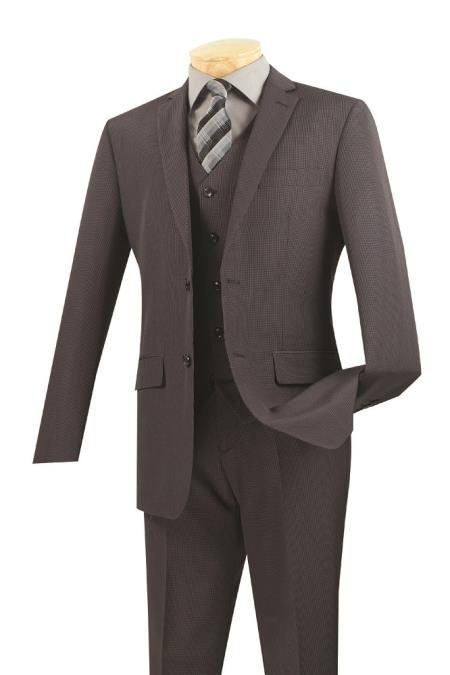 Mens 3 Piece Wool Feel Slim Fit Suit – Charcoal - Three Piece Suit