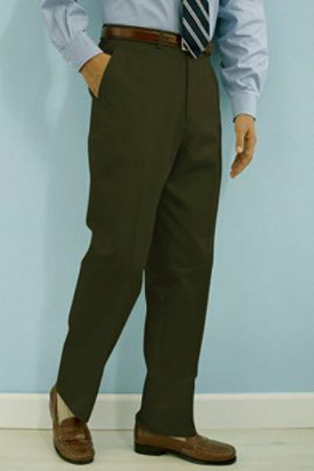 SKU#GK511 PA-100 Olive premier quality italian fabric Flat Front Mens Wool Dress Pants Hand Made Relax Fit $75
