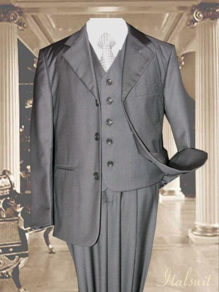 1900s Edwardian Men's Suits and Coats Charcoal 3pc Solid Suit With Vest For Kids $79.00 AT vintagedancer.com
