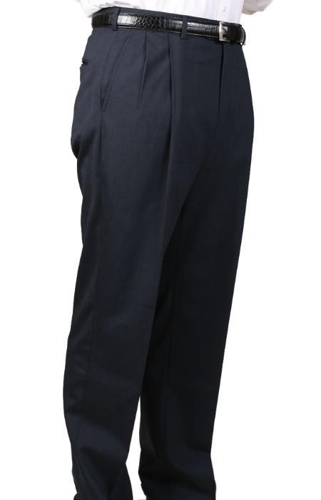 SKU#KA4830 Charcoal Blue Parker Pleated Pants Lined Trousers