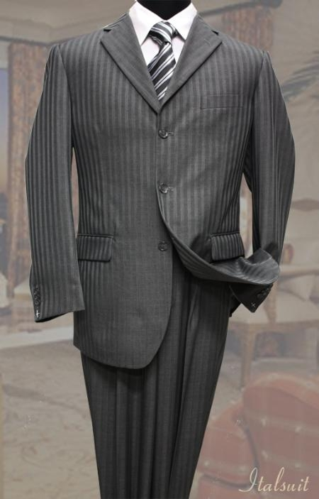 Men's Vintage Style Suits, Classic Suits Charcoal Classic 2PC 3 Button Tone On Tone Stripe Mens cheap discounted Suit $99.00 AT vintagedancer.com