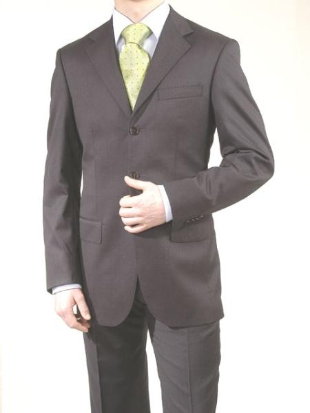 SKU# PJP846 Charcoal Gray/Black -3 Button Super 150s Wool & Cashmere Suit $175