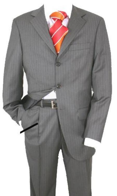 SKU# 777 Charcoal Gray Pinstripe Super 120s Wool $149