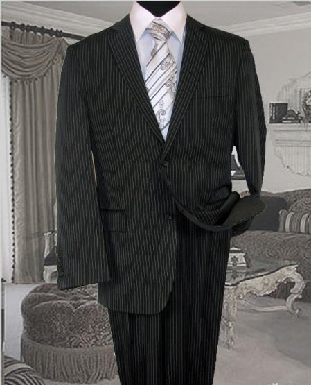 SKU#RJ126 Charcoal With White Pinstripe Conversative 2 Button Flat Front Mens cheap discounted Suit