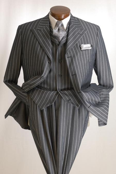 "EMIL_ H63SO Charocal Gray Bold Chalk White Pinstripe Vested Suit 3 Buttons, 34"" Length, Peak Lapel"