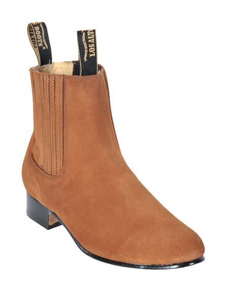 SKU#SM3180 Los Altos Mens Genuine Suede Charro Leather Sole Camel Short Boots