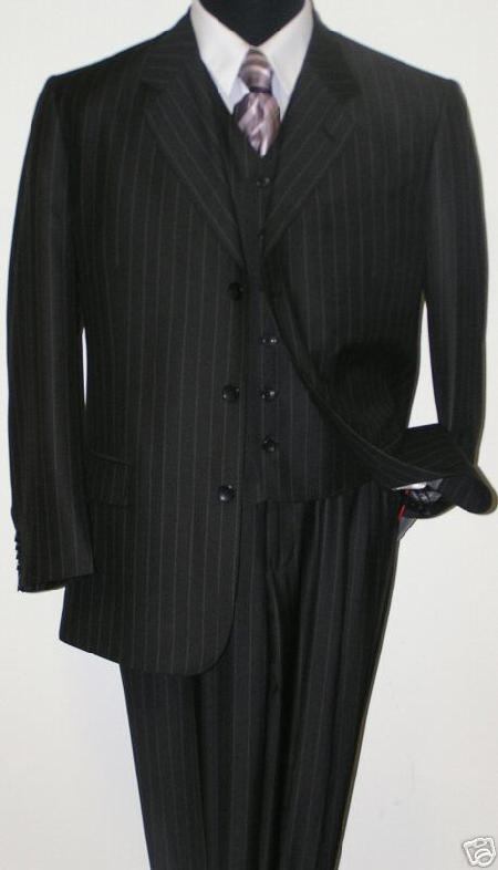 SKU# UHA930 Cheaper Version Quality Classic Black Stripe ~ Pinstripe three piece suit 100% Rayon Available in 2 buttons only
