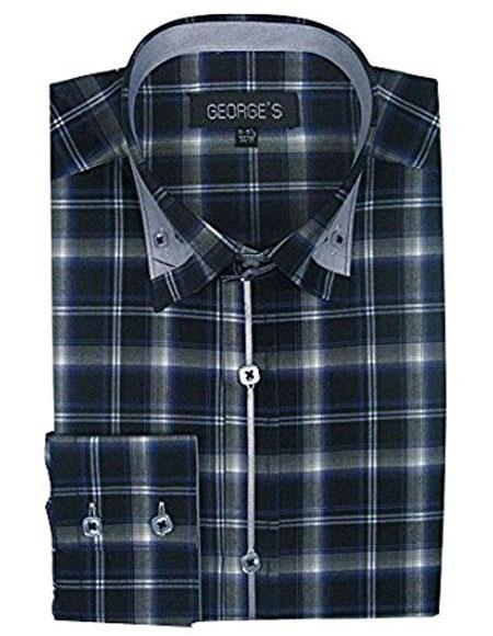 Mens Classic Long Sleeve Plaids And Checks Pattern Navy Casual Dress Shirt