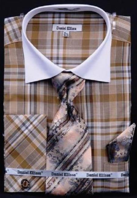 Buy AC-452 Checker Pattern Dress Fashion Shirt/ Tie / Hanky Set White Collar Two Toned Contrast Free Cufflinks Brown/Beige
