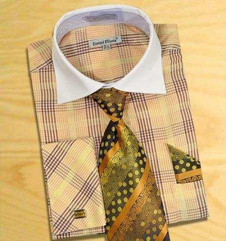 Buy AC-454 Checker Pattern Two Tone Dress Fashion Shirt/ Tie / Hanky Set White Collar Two Toned Contrast Free Cufflinks Brown