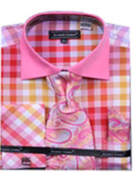 SKU#PN_I54 Mens Checker Pattern Multi Color French Cuff With Cuff Link Fuschia