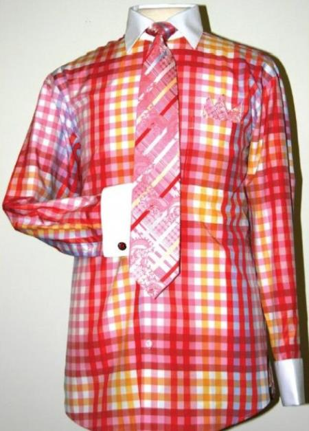 1960s Men's Clothing, 70s Men's Fashion Checker Pattern Dress Fashion Shirt Tie  Hanky Set With Free Cufflinks FuschiaWhite $65.00 AT vintagedancer.com
