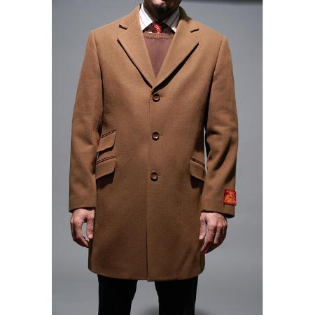 Mens Dress Coat Chesnut Wool and Cashmere Carcoat