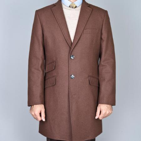 Three Quarters Length Mens Dress Coat Chestnut Wool Long Jacket Single Breasted Carcoat ~ Peacoat