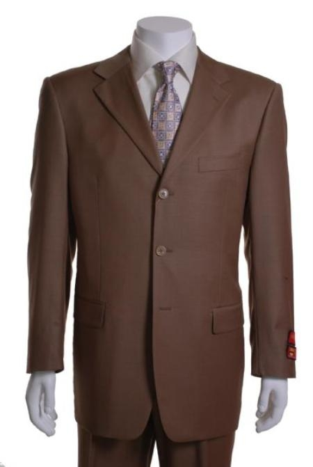 SKU#HN534 Chestnut 3 Button Vented 1 Pleat Wool Suit $295