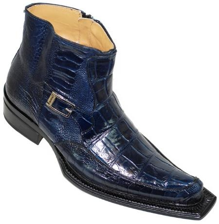 "SKU#WB4240  Mauri ""Chic Saloon""  Wonder Blue Genuine Alligator/Ostrich Pointed Toe Boots $1249"