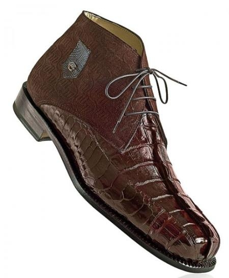 "SKU#XP7051 ""Chicago"" Rust Genuine Hornback Crocodile Tail/Ostrich/Mauri Embossed Suede Boots $1219"