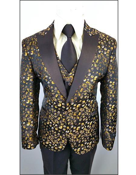 Black Yellow Brown Boys Kids Fashion Suit - Toddler Suit