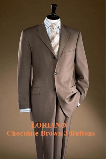 SKU# GGD955 Chocolate Brown 3 Buttons Mens Super 120s Wool $195