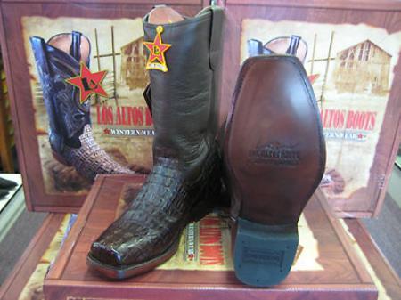 Los Altos Brown Crocodile ~ World Best Alligator ~ Gator Skin Tail Western Cowboy Biker Motorcycle Boot