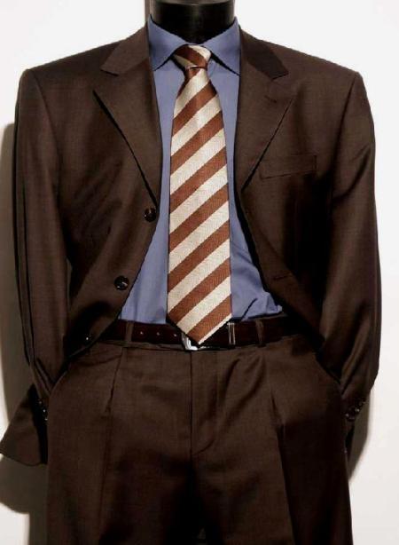 SKU# ZLK2 Chocolate Brown Italian Super 150s Wool premier quality italian fabric Design Mens Suits