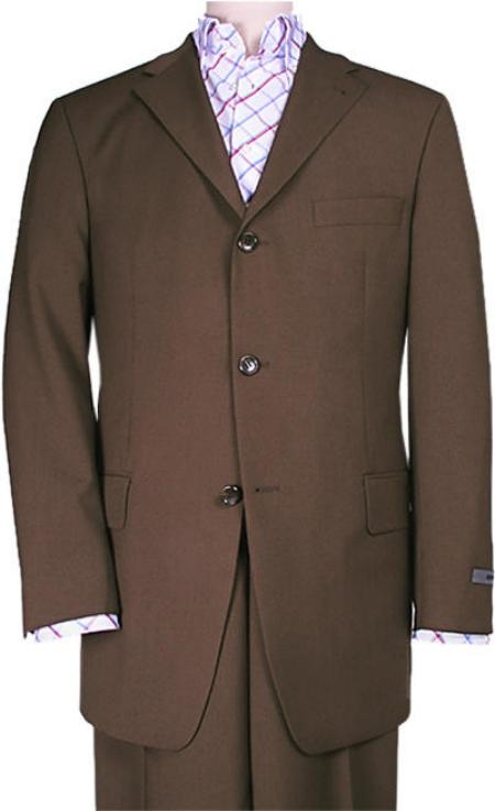 SKU# ZXV2 Chocolate Brown Solid Brown premier quality italian fabric Super 150s Wool Suits $199