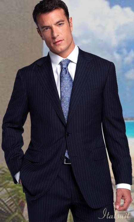 SKU#MP87961 Classic 2PC 2 Button Color Navy With Pinsripe Mens Suit $199