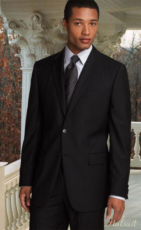 SKU#KN3979 Classic 2PC 2 Button Pinstripe Color Black Mens Suit $239