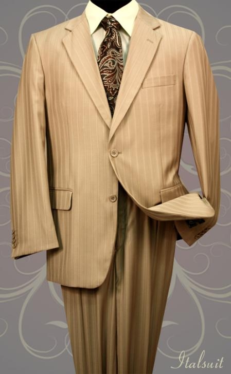 SKU#YP1011 Classic 2PC 2 Button Pinstripe Tan Mens Suit $139