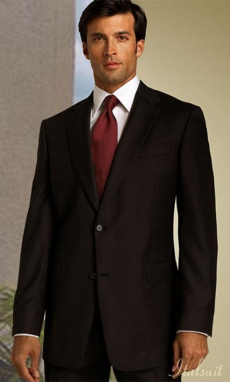 SKU#CL9823 Classic 2PC 2 Button Solid Color Brown Shark Skin Mens Suit $239