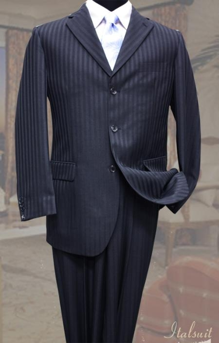 1930s Men's Costumes: Gangster, Clyde Barrow, Mummy, Dracula, Frankenstein Classic 2PC 3 Button Navy Tone On Tone Stripe Mens cheap discounted Suit $99.00 AT vintagedancer.com