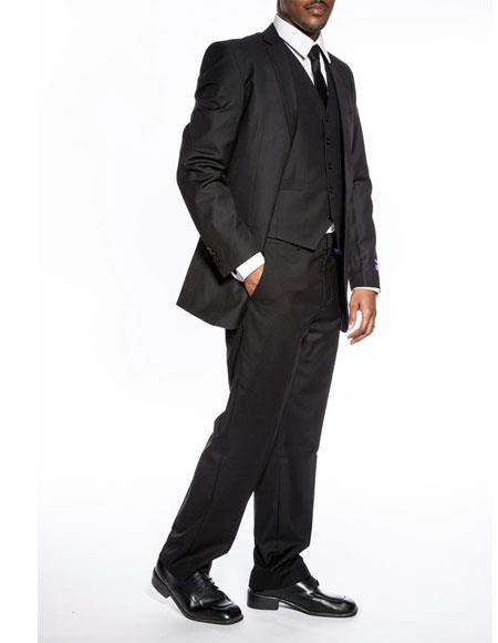 Buy CH2086 Mens classic black slim fit 3 piece wedding prom vested suit