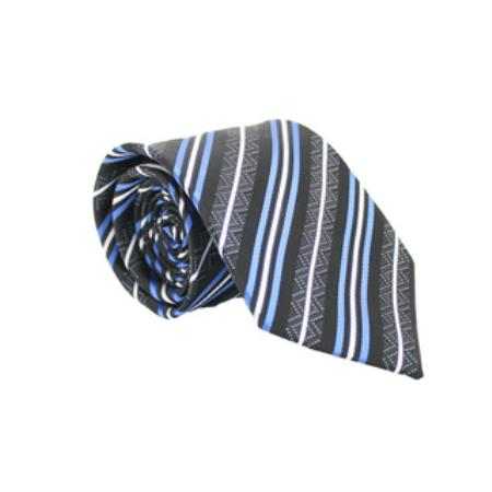 Slim Classic Blue/Black Necktie with Handkerchief