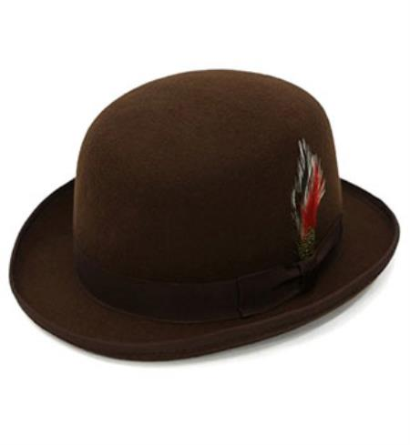 Dress Formal Premium Brown Lined Wool Clockwork Classic Derby Hat