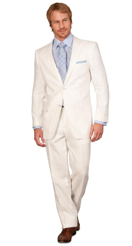SKU#LIN4 Linen summer Suit - White 2 button Jacket Blazer + Pants Slacks